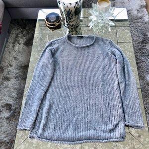 Zara Knit Heather Grey/Blue Sweater Size M